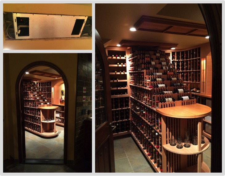 Working in the posh town of Bel Air, Wine Cellar Cooling Services Miami installed a split system refrigeration unit to this waterfall wine racked wine cellar.