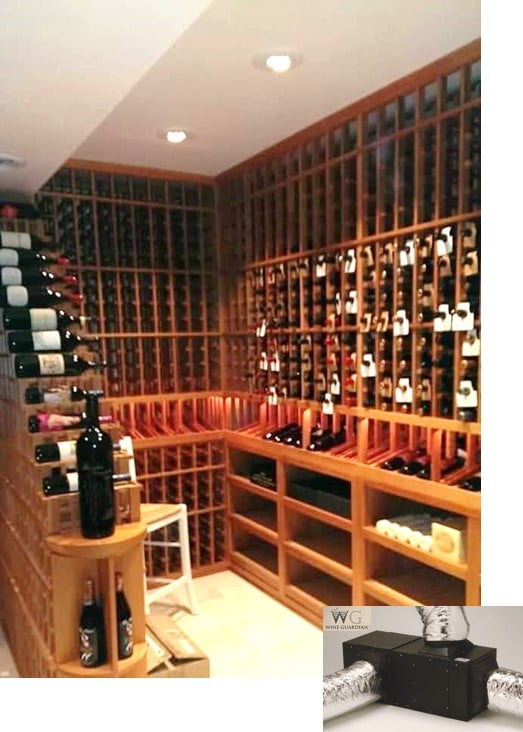 Custom Wine Cellar with a Wine Guardian Self-Contained Cooling System