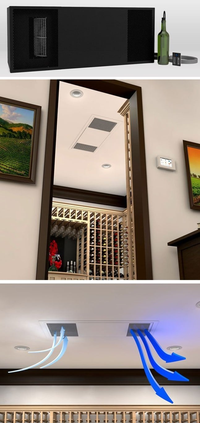 WhisperKOOL Ceiling Mount Ductless SPlit Wine Cellar Cooling System