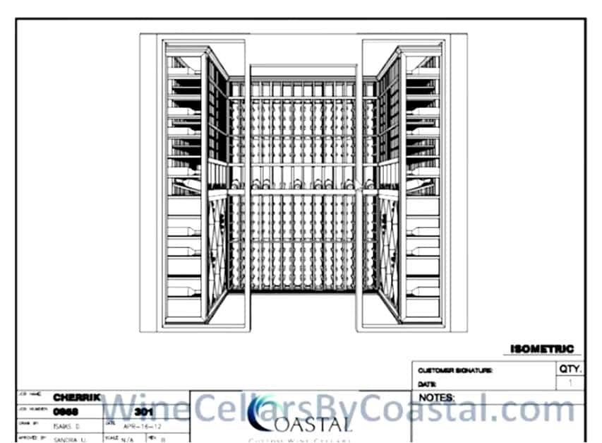 3D Custom Wine Cellar Design Created by Coastal Custom Wine Cellars for This Cooling Unit Installation Project