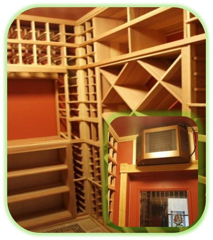 A Basement Custom Home Wine Cellar Equipped with One of the Most Efficient Wine Cooling Systems in the Market